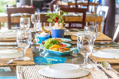 Table setup in outdoor cafe, small restaurant in a hotel, summer Royalty Free Stock Photography