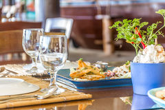 Table setup in outdoor cafe, small restaurant in a hotel, summer Stock Photography