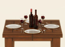 Table setup with red wine Royalty Free Stock Image