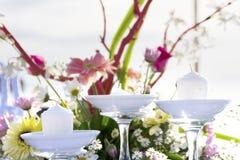 Table setup on tropical beach Stock Photography