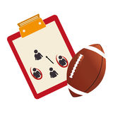 Table with sheet and football ball Royalty Free Stock Photos