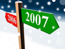 Table signs. Year 2006 on left and 2007 on right side Royalty Free Stock Image