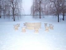 The table of silence - Brancusi - Targu Jiu stock photos