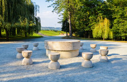 The table of Silence. Constantin Brancusi's The Table of Silence art masterpiece in the Targu Jiu Park Royalty Free Stock Photo