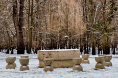 The table of Silence and Kissing gate Targu Jiu Stock Image