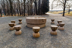 Table Of Silence Is One Of The Three Pieces Of Targu Jiu Monumen. Tal Ensemble Of The Romanian Sculptor Constantin Brancusi Stock Image