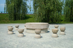 The Table of Silence. By Romanian sculptor Constantin Brancusi is a circular stone table surrounded by twelve hourglass-seats, which symbolize time. It is one royalty free stock images
