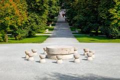 The Table Of Silence a sculpture by Constantin Brancusi Stock Photos