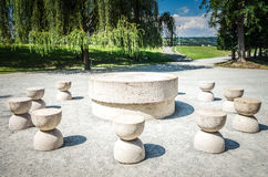 The Table Of Silence. It is a stone sculpture made by Constantin Brancusi. It's locateted in Targu Jiu, Romania Royalty Free Stock Photo