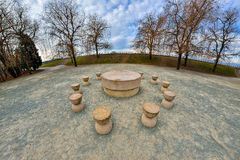 The Table Of Silence. It is a stone sculpture made by Constantin Brancusi. It`s locateted in Targu Jiu, Romania Royalty Free Stock Photography