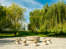 The Table Of Silence. Is A Stone Sculpture Made By Constantin Brancusi in 1938 In Targu Jiu, Romania Stock Images