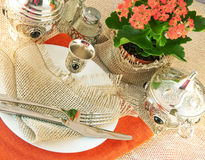 Table silver and natural flowers Stock Image