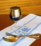 Table silver and wine glass Royalty Free Stock Photography