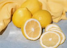Lemons are on the table royalty free stock photos