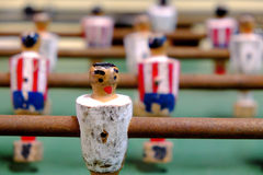 Table soccer with old figures. Stock Photo