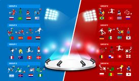 Table 2018 soccer world tournament in Russia. Vector illustration template design Royalty Free Stock Photo