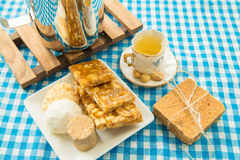 Table with some Brazilian delicious. Festa Junina Theme.  royalty free stock image