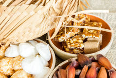 Table with some Brazilian delicious. Festa Junina Theme.  royalty free stock images