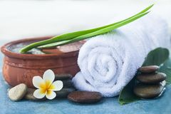 Table with spa objects and tropical flower, stones for massage. Treatment on blue background stock photo