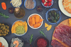 Table with spanish tapas Royalty Free Stock Image