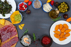 Table with spanish tapas Royalty Free Stock Photo