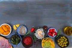 Table with spanish tapas Stock Photo