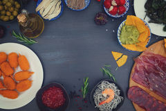 Table with spanish tapas Royalty Free Stock Photography