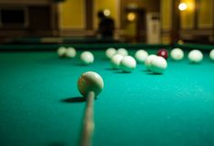 Table and spheres for game in billiards Royalty Free Stock Photography