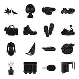Table, sports, wedding and other web icon in black style. Stock Images