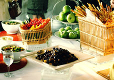 Table spread. At a party Royalty Free Stock Photos