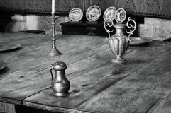 Table still life. Blackandwhite detail objects stock photo