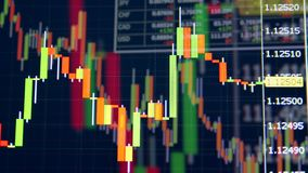 Table of stock exchange market indices. Stock market graphs with numbers and financial data. Stock market graphs with numbers and financial data. 4K stock footage