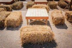 Table and straw chair. Table and straw chair in contryside royalty free stock image