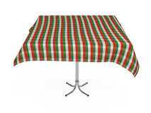 Table with stripped cloth, isolated, clipping path. Table with stripped cloth, green, red and white colors, isolated on white, with clipping path Stock Photos