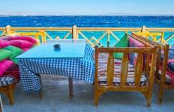 Watch the sea from cafe terrace, Dahab, Sinai, Egypt Stock Image