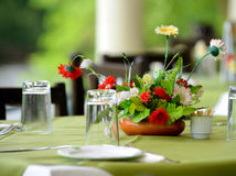 Table a summer cafe . Selectife focus Royalty Free Stock Image