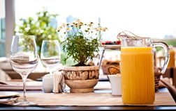 Table at summer terrace Royalty Free Stock Image