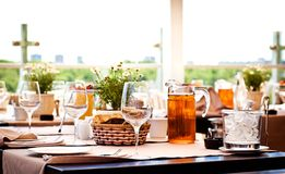 Table at summer terrace Royalty Free Stock Images