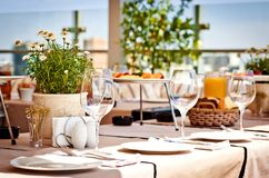 Table at summer terrace Stock Image