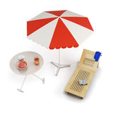 Table, sun lounger and beach umbrella - place of rest. 3d. Stock Image