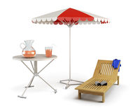 Table, sun lounger and beach umbrella - place of rest on a white Stock Images