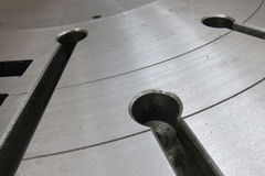 Table surface. Of CNC lathe machine Royalty Free Stock Images
