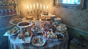 Table of sweets with Menorah Stock Photo