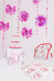 Table with sweets for pink decoration party. Dessert table with sweets for pink decoration party Stock Photography