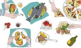Table tableful et étendue de fête, illustration colorée tirée par la main de vacances, vue supérieure Photo stock