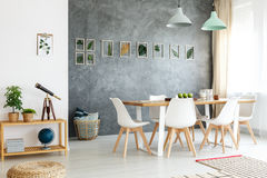 Table with telescope. Small wooden table with telescope, books and potted plants in modern dining room stock image