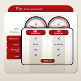 Table template for file sharing websites. With speedometer Stock Photos