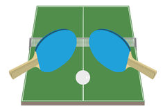 Table Tennis. Table, bats and pingpong ball Stock Images