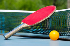 Table tennis. Ball and paddle for table tennis Royalty Free Stock Photos
