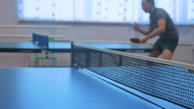 Table tennis backhand concept. blurred focus man playing training table tennis lifestyle the sport active stock footage